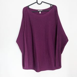 Eileen Fisher Plum Purple Ribbed Pullover Sweater